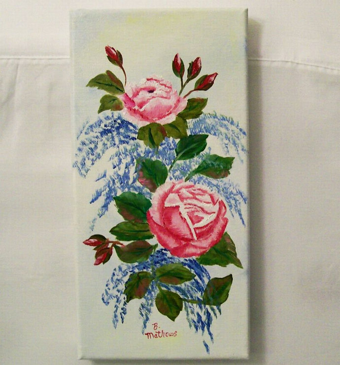Oil Painting, Original Oil Painting, 6X12 Painting, Pink Roses Painting, Painted