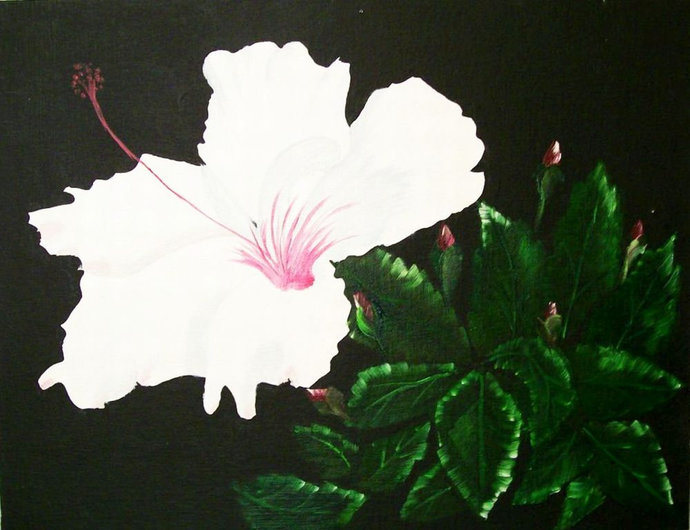 """Oil Painting, Original Painting, 14x18 Painting, Floral Painting, """"White"""