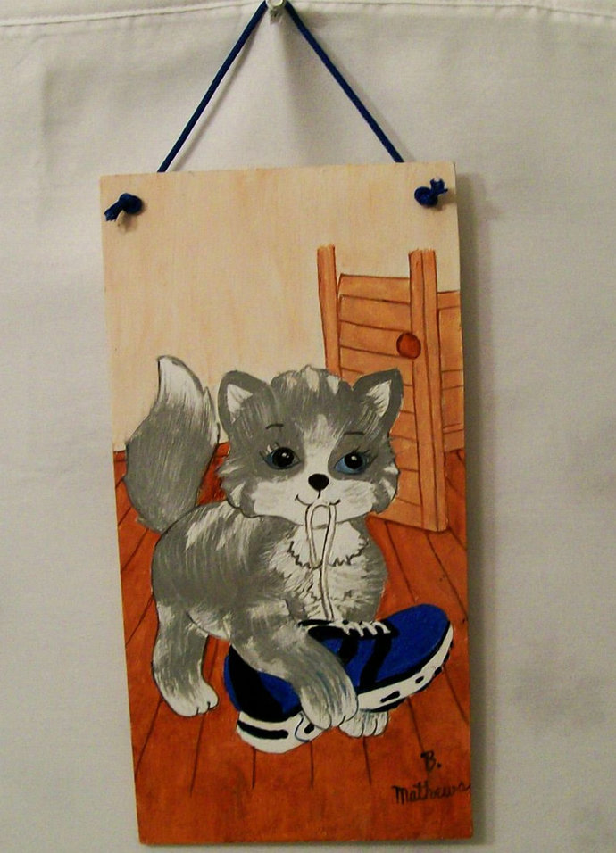 "Kids Original Painting, 6x12 Painting, Kitten Painting, ""Kitten and shoe"",  Made"