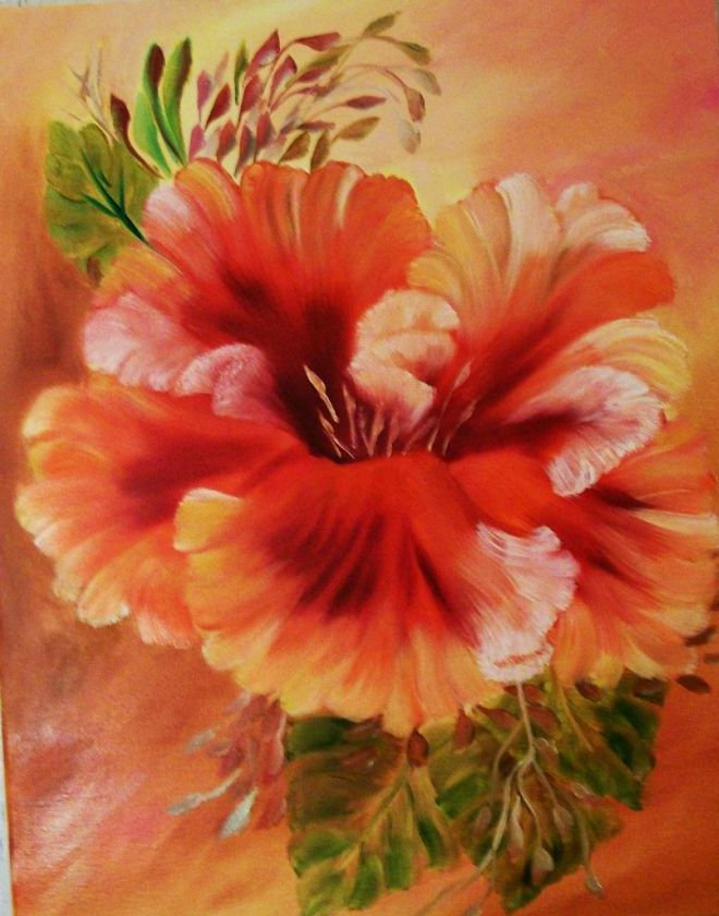 """Oil Painting, Original Painting, 16x20 Painting, Floral Painting, """"Hibiscus"""","""