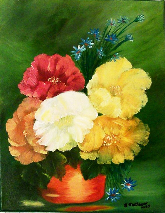 """Oil Painting, Original Painting, 11X14 Painting, Floral Painting, """"[Poppies in a"""