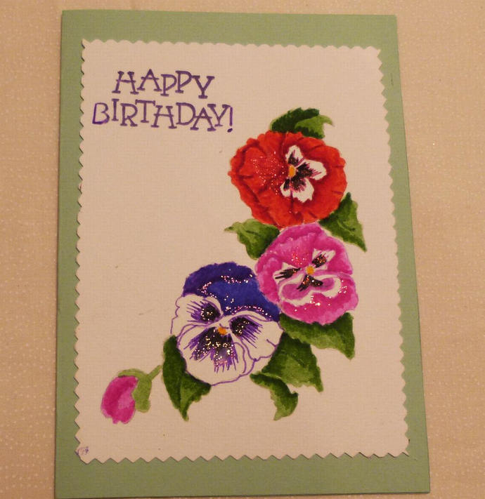 Handmade greeting card 5x7 birthday by handmadegiftsbybarb on zibbet handmade greeting card 5x7 birthday greeting cards hand painted pansies m4hsunfo