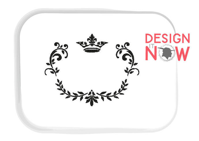 Ornament Frame Crown Decor Machine Embroidery Design - 4 Sizes
