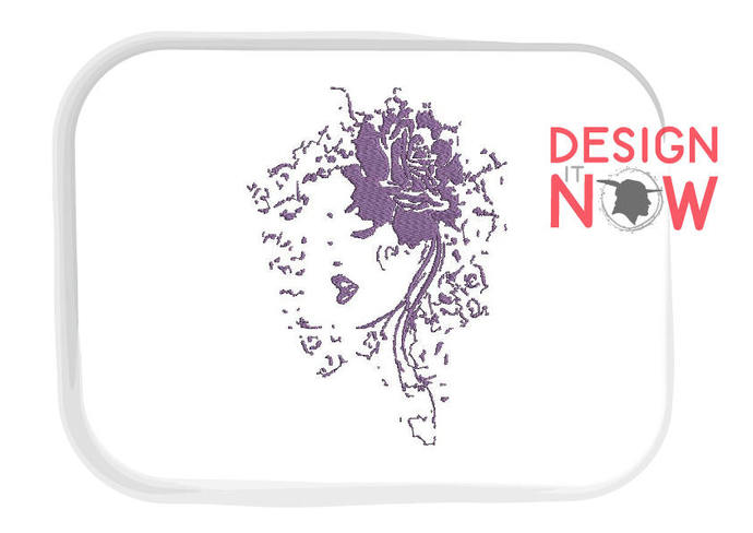 Woman Head Lady Rose Floral Machine Embroidery Design - One Size