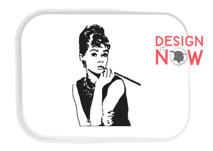 Audrey Hepburn Machine Embroidery Design - One Size