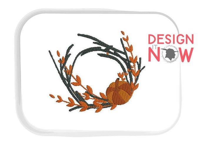 Autumn Monogram Frame Decor Machine Embroidery Design - One Size