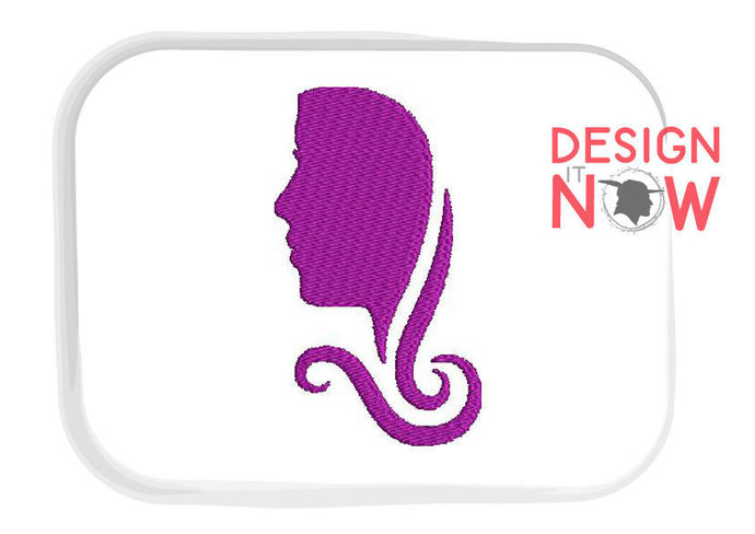 Woman Head Lady Silhouette Machine Embroidery Design - 2 Sizes