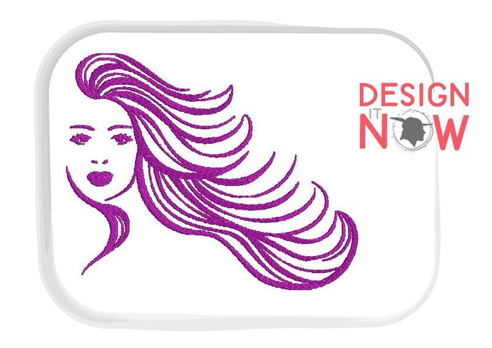 Woman Head Face Lady Hair Silhouette Machine Embroidery Design - One Size