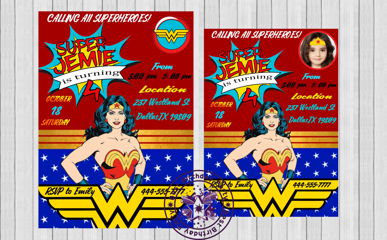 Wonder Woman Invitation - Wonder Woman by BestBirthdayParty on Zibbet