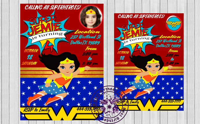 Wonder Woman Little Girl Clipart Birthday Party Invitations