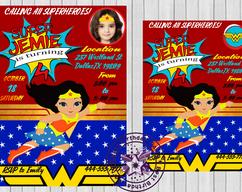 Wonder Woman Little Girl Clipart Birthday Party Invitations Invite JPEG