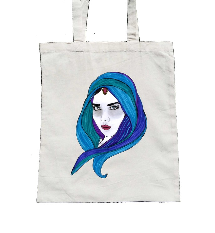 Arabian Arabic Woman, Canvas Tote, Woman Tote Bag
