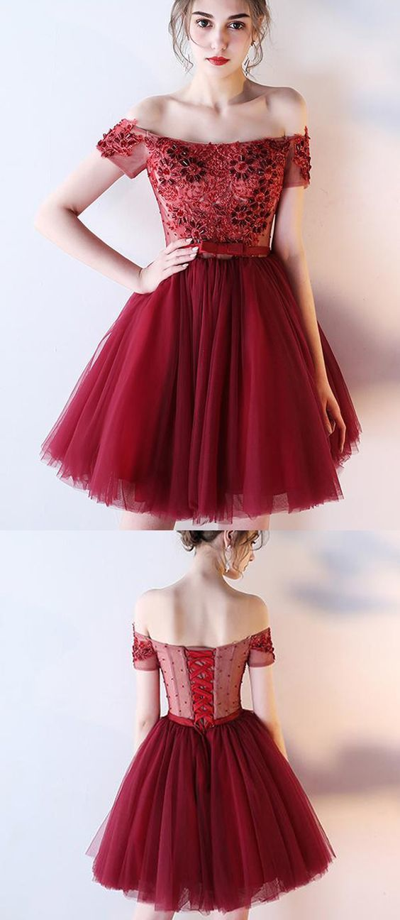 7ca45cc9231 Dark Red Off the Shoulder Short Prom Dress with by MeetBeauty on
