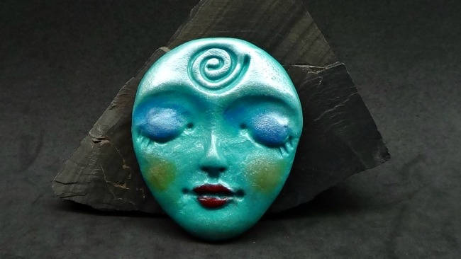 Larger Art Doll Face Cabochon in Turquoise Blue Pearlescence - handmade from