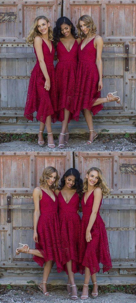 9db8a1c71b3de A-Line Spaghetti Straps V Neck Asymmetrical Red Lace Bridesmaid Dress 1414