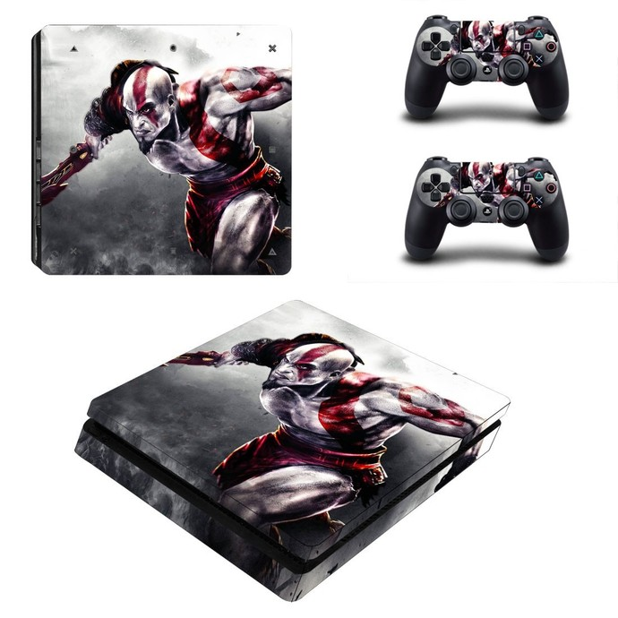God of War ps4 slim skin decal for console and controllers