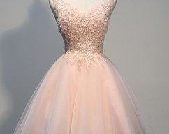 77e689a0e874a BeMyBridesmaid · Pink Lovely Knee Length Tull V-neckline Graduation  Dresses, Pink Graduation Dresses