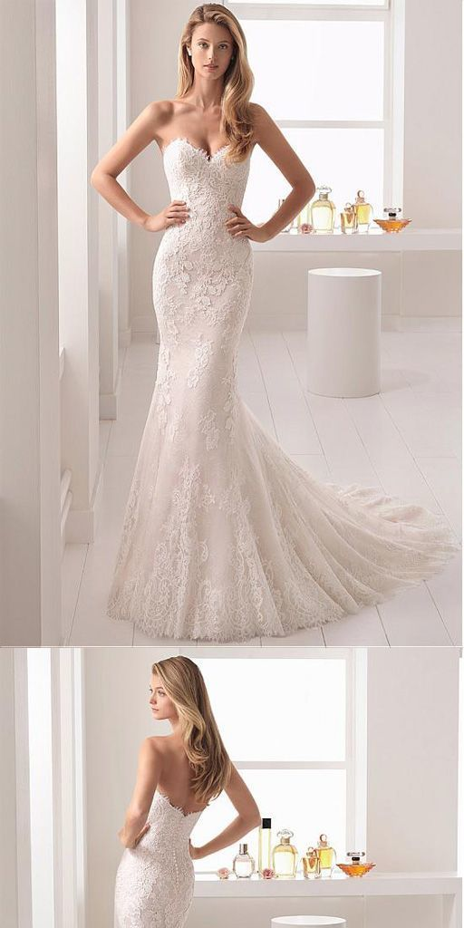 Lace Sweetheart Neckline Mermaid Wedding Dress With by Hiprom on