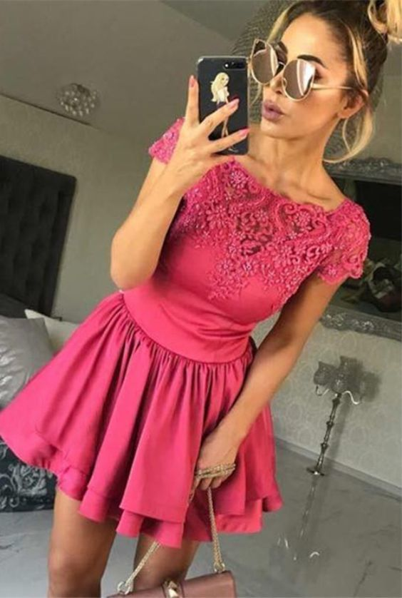 A-Line Bateau Cap Sleeves Fuchsia Homecoming Dress with Appliques