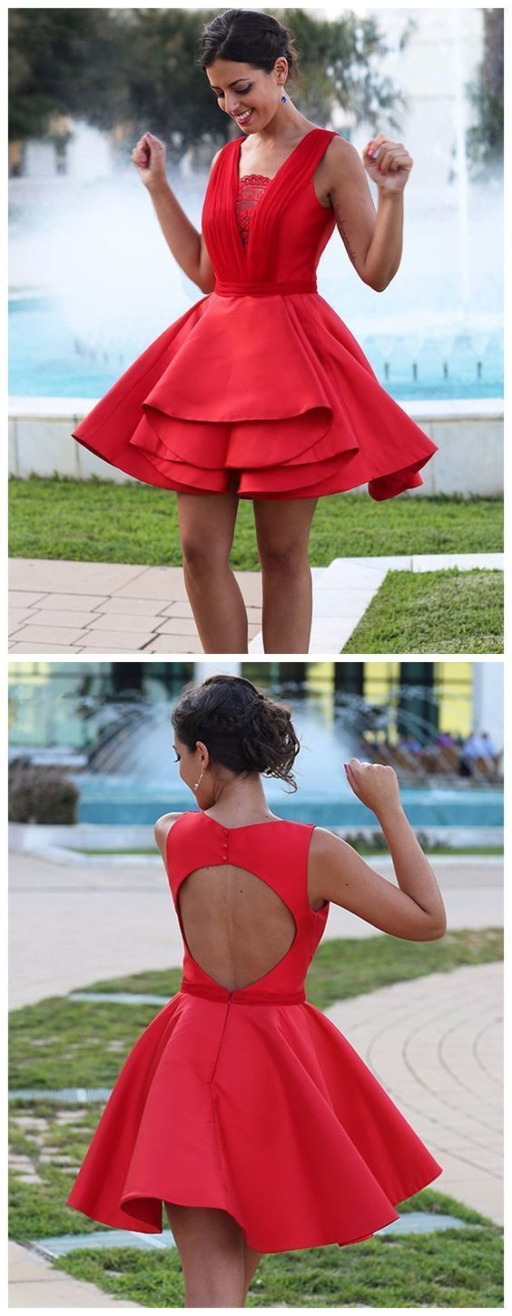 Red Short Cocktail Dress with Open Back,Simple Homecoming Dresses,Cheap Prom