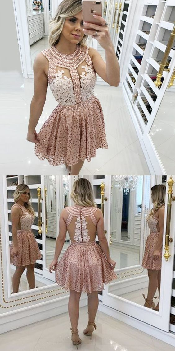 A-Line Round Neck Pink Homecoming Prom Dress with Beading Lace BD074