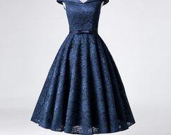 9cb5710a29f64 BeMyBridesmaid · Blue Lace Tea Length Wedding Party Dress, Blue Formal Dress,  Blue Party Dress 2018