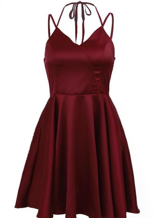 Burgundy Satin Homecoming Dress, Straps Homecoming Dress 2018, Pretty Formal