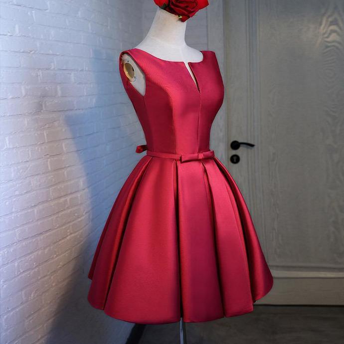 Stylish Satin Short Homecoming Dress 2018,  Red Party Dress, Graduation Party