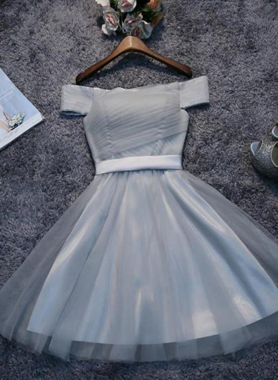 8c39c52fa4e Tulle Grey Off Shoulder Homecoming Dress