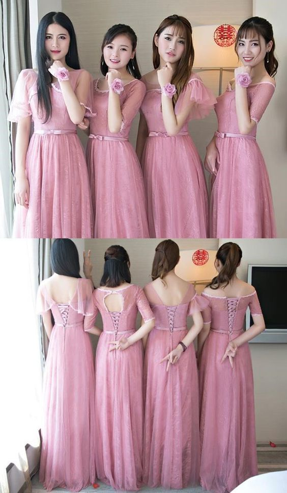 Cute Pink Lace Tulle Long Bridesmaid Dresses, by MeetBeauty on Zibbet