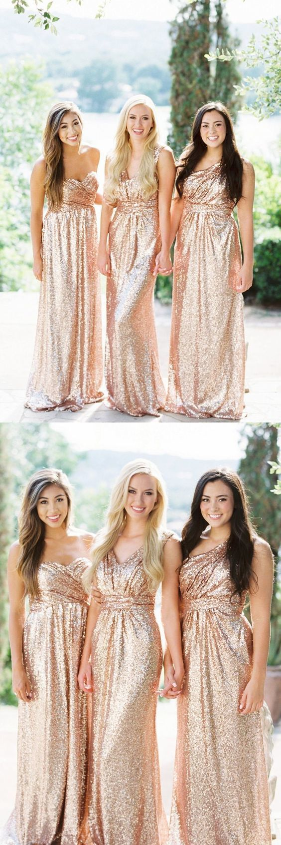Sweetheart Rose Gold Bridesmaid Dress, Sparkly Sequin Bridesmaid Dress,