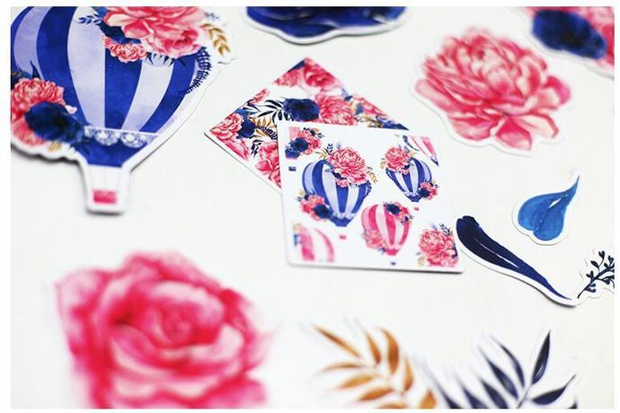 17pcs Watercolor Flower Hot Air Balloon Stickers Clip Art stl