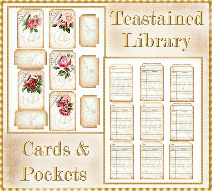 Teastained Library Pockets and Card Set for Junk Journals, Greeting Cards,