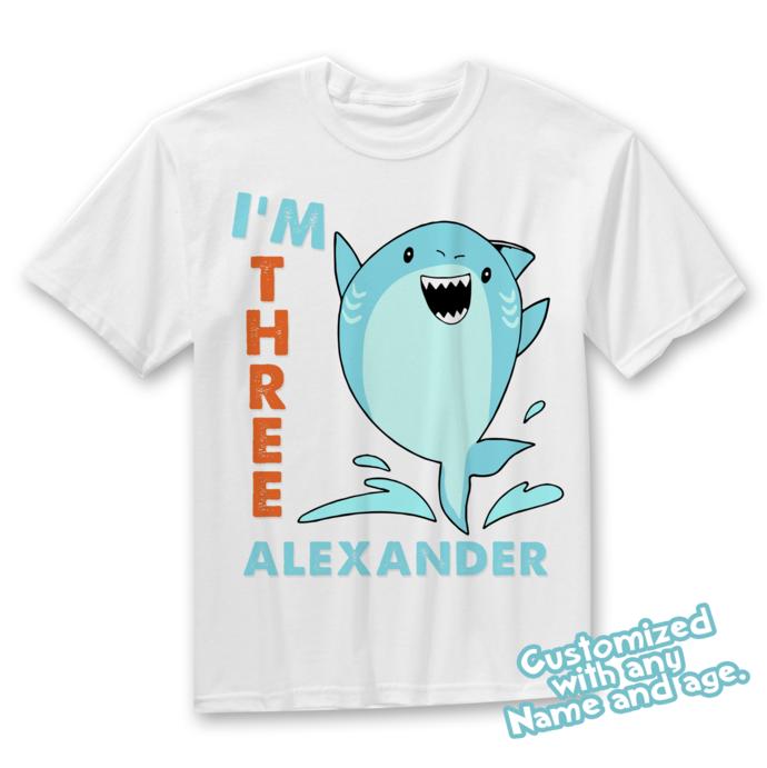 Shark Birthday Shirt - any age and name