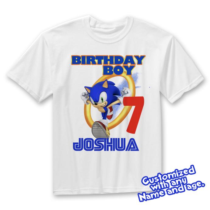 Sonic Birthday Shirt, Sonic the Hedgehog Birthday, Custom Sonic T-shirts for