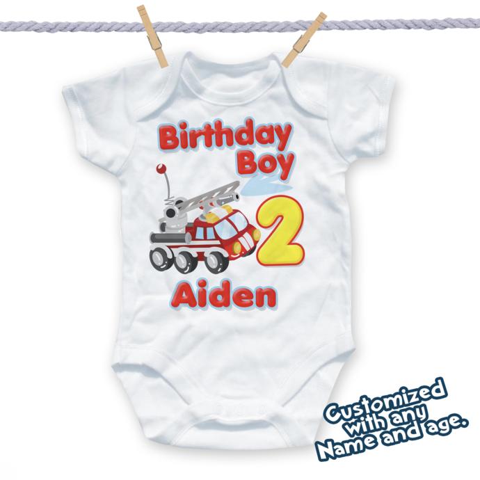 Firetruck Birthday Shirt, Fireman Birthday Tshirt, 3rd Birthday Fireman, 2nd