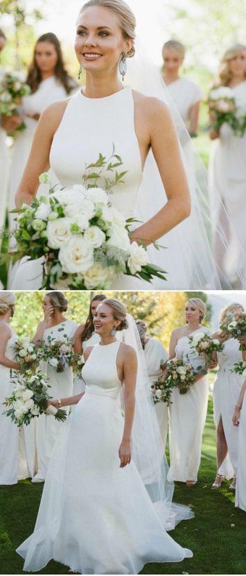 Elegant White Bridal Dress,Simple Prom Dress,Custom Made Evening Dress