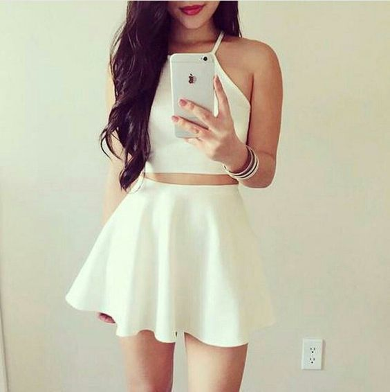 8a43837e White Two Pieces Short Homecomingsimple By Destinydress On Zibbet