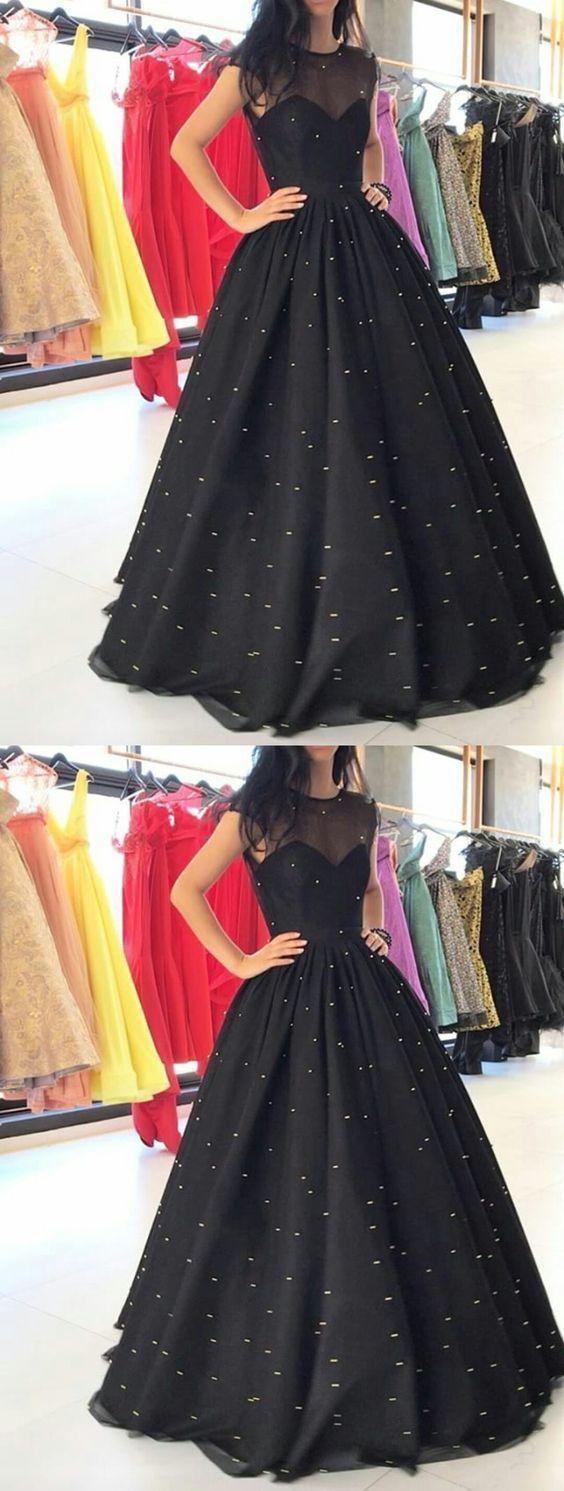 Stunning Ball Gown,Black Long Prom Dress,Long by DestinyDress on