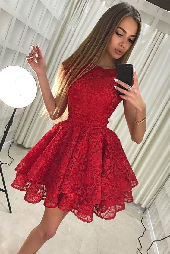 Red Lace Short Prom Dresscheap Homecoming By Destinydress On Zibbet