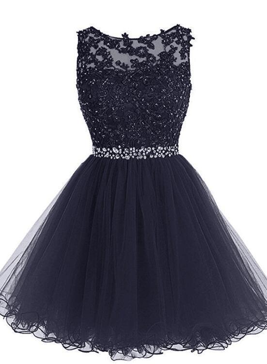 New Style Round Neckline Tulle Short Homecoming Dresses, Short Prom Dress
