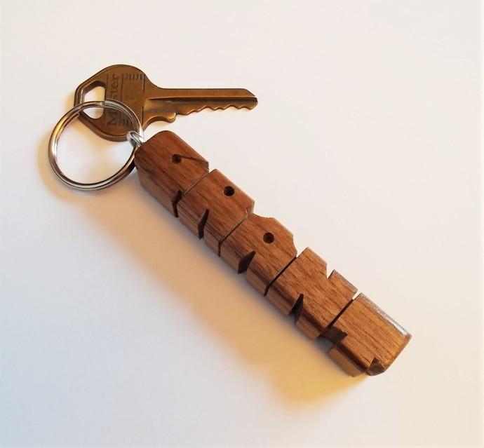 GRANT - Sample Name Keychain in Walnut Wood