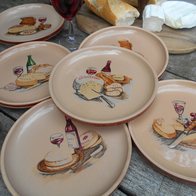 Set of Six French 1970u0027s Cheese Plates by GIEN France. Grès de GIEN Vintage & Set of Six French 1970u0027s Cheese Plates by by Tiggy and Pip on
