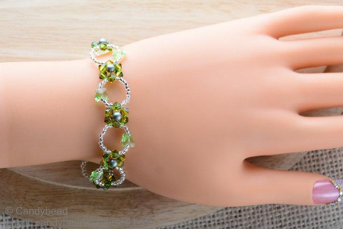 Swarovski Bracelet; Crystal Bracelet; Glass Bracelet; Apple Green Flower
