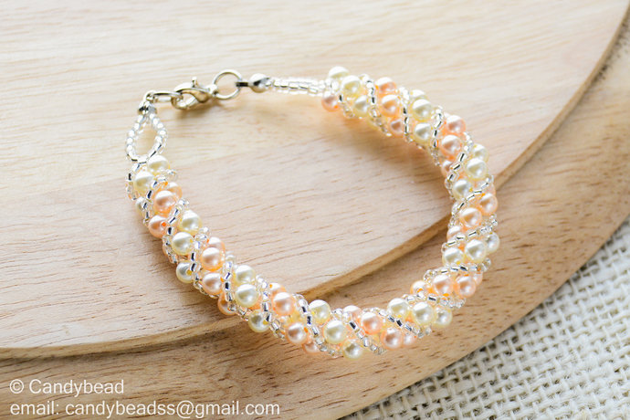 Swarovski Bracelet; Crystal Bracelet; Glass Bracelet; Twisty Swarovski Pearl