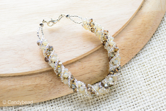 Crystal Bracelet; Swarovski Bracelet; Glass Bracelet; Neutral Brown Shade twisty