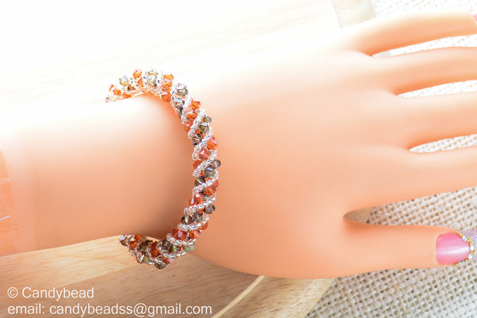 Swarovski Bracelet; Crystal Bracelet; Glass Bracelet; Strawberry Twisty