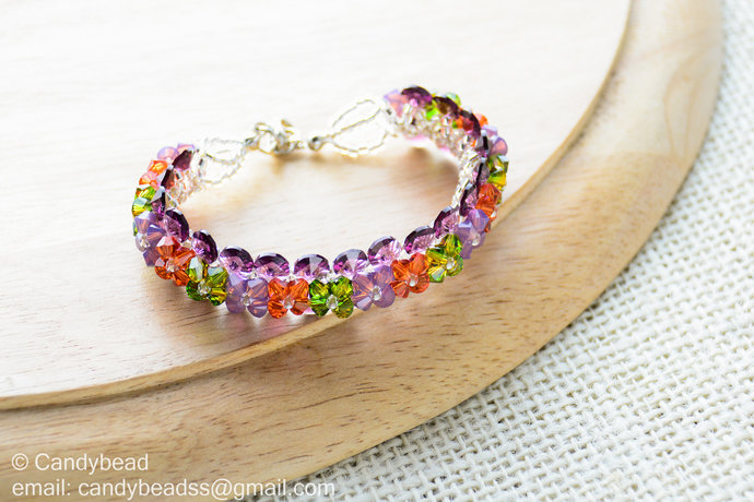 Crystal Bracelet; Swarovski Bracelet; Glass Bracelet; Purple and Cyclamen Opal