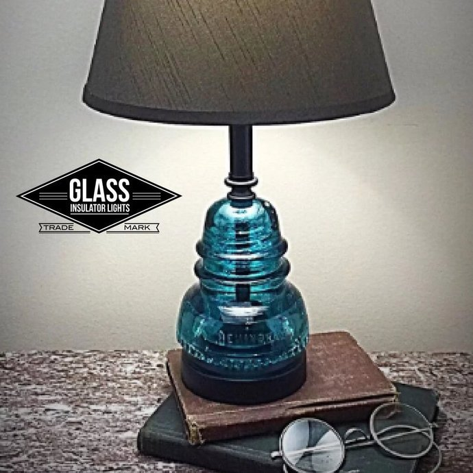 Glass Insulator Lamp - Insulator Lamp - Glass Insulator Table - Glass Insulator