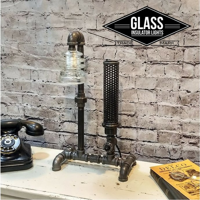 Industrial Lamp / Pipe Lamp / Glass Insulator Lamp / Steampunk Lamp Insulator